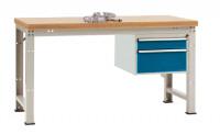 Komplett-Angebot Werkbank PROFI Modell 1, Platte Kunststoff 40 mm 1500 / Brillantblau RAL 5007