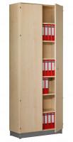 Modufix Flügeltüren-Büroschrank mit 6 Fachböden, HxBxT 2575 x 1020 x 420 mm Lichtgrau / Lichtgrau