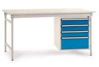 Komplettbeistelltisch BASIS mit Melaminplatte 22 mm, mit Gehäuse-Unterbau 500 mm Brillantblau RAL 5007 / 1250