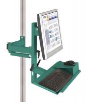 Ergo-Monitorträger mit Tastatur- und Mausfläche 75 / Graugrün HF 0001