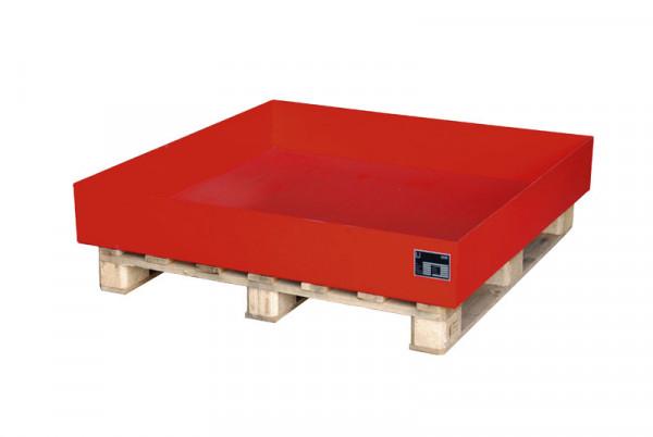 Auffangwannen für Holzpaletten, für 4x200 Liter Fässer, LxBxT 1200 x 800 x 260 mm