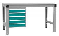 Schubfach-Unterbauten MULTIPLAN, stationär, 5x100 mm Wasserblau RAL 5021 / 1000