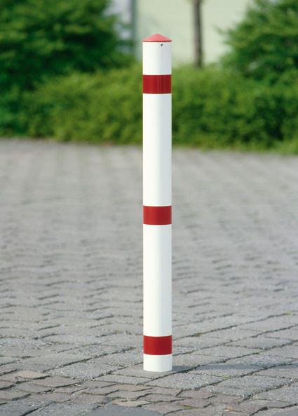 Vierkant-Sperrpfosten aus Stahl zum Einbetonieren, ohne Schließung, Breite 70 mm