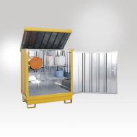 Gefahrstoff Depot, mit 4 Regalstützen, 2 Gitterroste, 2 Fassauflagen Lichtgrau RAL 7035