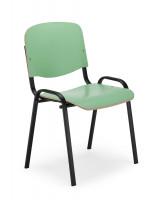 Klassischer Holz-Stapelstuhl mit Laminatoberfläche Verchromt / Grün