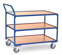 Tischwagen mit 3 Ladeflächen und hochstehendem Schiebegriff 500 / 850