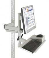 Ergo-Monitorträger mit Tastatur- und Mausfläche 100 / Alusilber ähnlich RAL 9006
