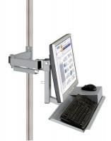 Monitorträger mit Tastatur- und Mausfläche 100 / Alusilber ähnlich RAL 9006