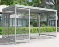Modulares Überdachungssystem, Eingang 3/4 rechte Frontseite, H x B x T 2510 x 4195 x 2165 mm Grauweiß RAL 9002