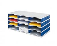 Sortierablage aus Polystyrol 12 / Grau/Blau