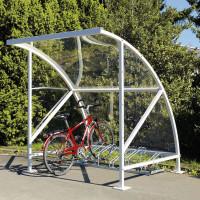 Fahrrad-Überdachungssystem aus transparentem Polycarbonat in topaktuellem Design Moosgrün RAL 6005 / 4130