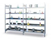 Gefahrstoff-Grundregal, für wassergefährdende Flüssigkeiten 1360 / Wannenboden PE