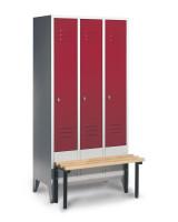 Garderobenschrank, die Klassischen, mit vorgebauter Sitzbank, Abteilbreite 300 mm, 3 Abteile Lichtgrau RAL 7035 / Lichtgrau RAL 7035