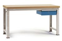 Komplettwerkbank Buche massiv 40 mm PROFI Modell 2 1500 / Lichtgrau RAL 7035