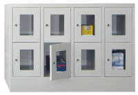 Halbhoher Schließfachschrank, Vollblechtüren, Abteilbreite 400 mm, Anzahl Fächer 2x2 Resedagrün RAL 6011