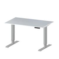 Elektr. höhenverstellbarer Prüftisch E-LINE 200, Melamin-Tischplatte 22 mm, lichtgrau 1500