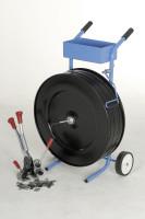 fahrbahrer Abrollwagen für Abrollerset Kunststoffbänder, Bandbreite 16 mm