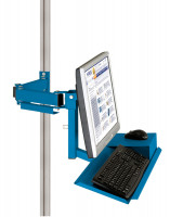 Monitorträger mit Tastatur- und Mausfläche Brillantblau RAL 5007 / 100