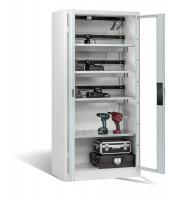 Akkuladeschrank mit Sichtfenstertüren und 3 Elektro-Einlegeböden Lichtgrau / Lichtgrau