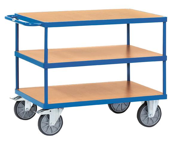 Schwere Tischwagen, 3 Ladeflächen aus Holzwerkstoff