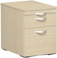 Rollcontainer mit Schublade aus Stahl, HxBxT 566 x 430 x 600 mm 1 Utensilienschub, 1 Schubfach, 1 Hängeregister / Ahorn