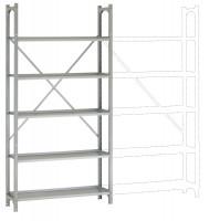 REGISTRA Archiv Standard Einfach-Grundregal, einseitige Nutzung, Höhe 1900-1600 mm 1900 / Einseitig (Diagonalverstrebung)