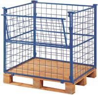 Palettenaufsatz mit Gitter - 1 Seite mit Klappe 1600 / 1200 x 1000