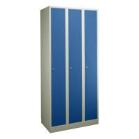 Garderobenschrank - die Extrahohen, 3 Abteile, Abteilbreite 300 mm Enzianblau RAL 5010