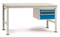 Komplettarbeitstisch UNIVERSAL Standard mit Schubfach-Unterbau 1x 50, 1x 100, 1x 150 mm, Kunststoff  1500 / Lichtgrau RAL 7035