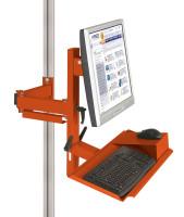 Ergo-Monitorträger mit Tastatur- und Mausfläche leitfähig 100 / Rotorange RAL 2001