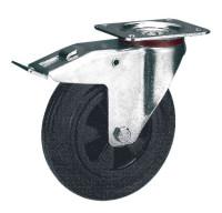 Lenkrolle mit Doppelstopp auf Vollgummi-Bereifung 100 / Kunststoff