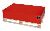 Auffangwannen für Holzpaletten, LxBxT 1200 x 800 x 260 mm Feuerrot RAL 3000 / Ohne Gitterrost
