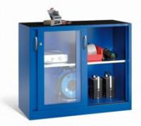Schwerlast-Schiebetürenschrank mit Sichtfenstertüren Enzianblau RAL 5010 / 1000 x 1600