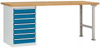 Komplettwerkbank Buche massiv 40 mm Combi Modell 6 1500 / Brillantblau RAL 5007