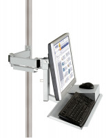 Monitorträger mit Tastatur- und Mausfläche 100 / Lichtgrau RAL 7035
