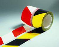 Selbstklebende Absperr- und Warnbänder mit Bandbreite 60 mm und Bandlänge 66000 mm Weiß/Rot