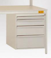 Schubfach-Unterbauten UNIDESK leitfähig, 3x100, 1x200 mm Lichtgrau RAL 7035