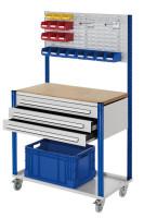 Mobile Arbeitsstation mit Schlitzplatte Enzianblau RAL 5010 / 1000