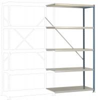 Schwere Stahlfachboden Anbauregale PLANAFIX Premium, Höhe 2000 mm, beidseitige Nutzung 500 / Graugrün HF 0001