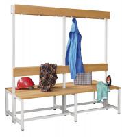 Doppelseitige Sitzbank mit Garderobensystem und Schuhrost Kunststoffleisten / 1500
