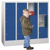 Halbhoher Schließfachschrank, Acrylglastüren, Abteilbreite 300 mm, Anzahl Fächer 4x3 Rubinrot RAL 3003