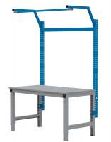 MULTIPLAN Stahl-Aufbauportale mit Ausleger, Grundeinheit Brillantblau RAL 5007 / 750