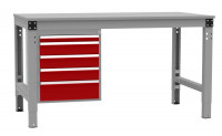 Schubfach-Unterbauten MULTIPLAN, stationär, 1x50, 3x100, 1x150 mm Rubinrot RAL 3003 / 800