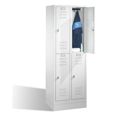Doppelstock-Garderobenschrank mit Sockel, 2 x 3 Abt. 300 mm