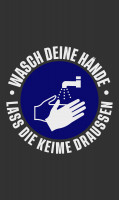 """Waschbare COVID-19 Schmutzfangmatte """"Wasch deine Hände"""", 85 x 150 cm"""