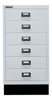 Schubladenschrank mit 6 Schubladen für DIN A3 Lichtgrau / mit Sockel