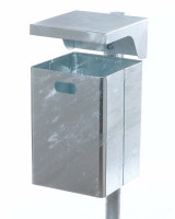 Abfallbehälter mit Abdeckhaube, 40 Liter Verzinkt / Verzinkt