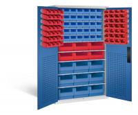 Großraumschrank mit 62 roten und 44 blauen Sichtlagerkästen, HxBxT 1950 x 1100 x 535 mm Lichtgrau RAL 7035 / Enzianblau RAL 5010