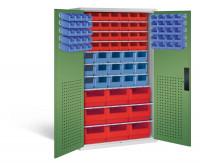 Großraumschrank mit 37 roten und 55 blauen Sichtlagerkästen, HxBxT 1950 x 1100 x 535 mm Lichtgrau RAL 7035 / Resedagrün RAL 6011