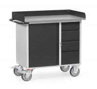 Werkstattwagen Grey Edition mit Abrollrand / 1 Schrank und 4 Schubladen